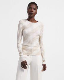 Crewneck Sweater In Striped Silk Intarsia at Theory