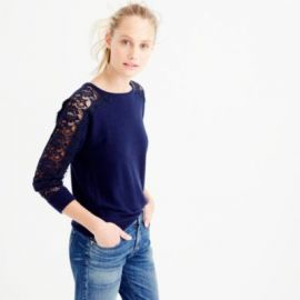 Crewneck sweater with edged lace at J. Crew