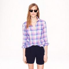 Crinkle boy shirt in orchid plaid at J. Crew