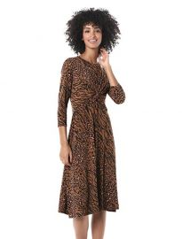 Criss Cross Front Animal Printed Jersey Dress by Donna Morgan at Amazon
