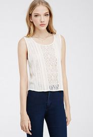 Crochet Lace-Paneled Blouse at Forever 21