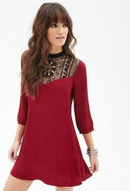 Crochet Panel Shift Dress at Forever 21