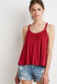 Crochet-Paneled Cami  Forever 21 - 2000184626 at Forever 21