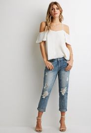 Crochet-Patch Boyfriend Jeans  Forever 21 - 2000052551 at Forever 21