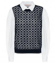Crochet-paneled cotton-blend shirt at Mytheresa