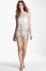 Crochet tank with coral trim at Nordstrom at Nordstrom