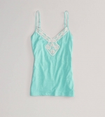 Crochet trim cami at American Eagle at American Eagle