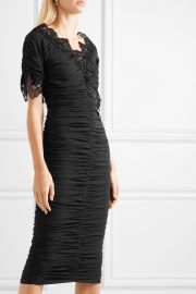 Crocheted lace-trimmed ruched silk-blend georgette dress at Net A Porter