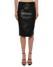 Crocodile-Embossed Leather Knee-Length Skirt at Bergdorf Goodman