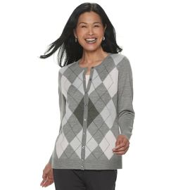 Croft & Barrow Button Front Cardigan in Barely Pink Argyle at Kohls
