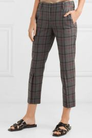 Cropped checked wool-blend tapered pants at Net A Porter