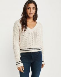 Cropped Cable V-neck Sweater by Abercrombie & Finch at Abercrombie & Fitch