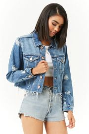 Cropped Distressed Denim Jacket by Forever 21 at Forvever 21