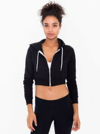 Cropped Fleece Hoodie at American Apparel