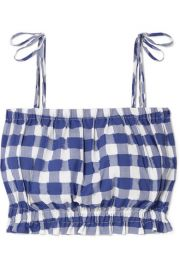 Cropped Gingham Fil Coupe Cotton Top by MDS Stripes at Net A Porter