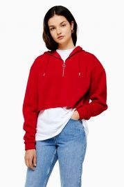 Cropped Half zip hoodie at Topshop