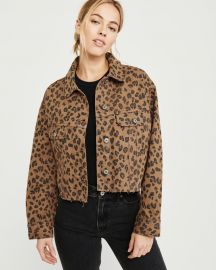 Cropped Leopard Print Girlfriend Denim Jacket at Abercrombie & Fitch