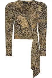 Cropped Metallic Printed Crepe Wrap Blouse by Dundas at The Outnet