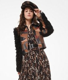 Cropped Patchwork Leather Shearling Jacket by Michael Kors Collection at Michael Kors