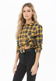 Cropped Plaid Flannel Shirt  at Forever 21