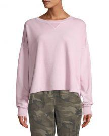 Cropped Raw-Edge Pullover Sweatshirt by AMO Denim at Bergdorf Goodman
