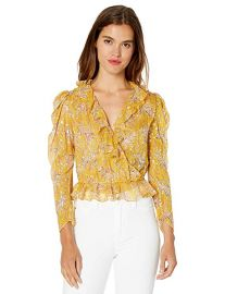 Cropped Top with Ruffled Collar in a Floral Print at Amazon