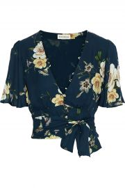 Cropped belted floral-print silk-crepe top at The Outnet