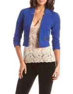 Cropped blue blazer at Charlotte Russe
