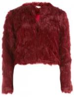 Cropped burgundy fur jacket at Dorothy Perkins