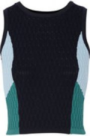 Cropped color-block textured-knit top at The Outnet