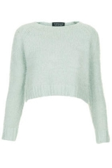 Cropped fluffy sweater at Topshop