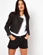 Cropped leather jacket at ASOS at Asos