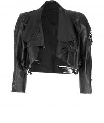 Cropped leather jacket by Catherine Malandrino at Stylebop