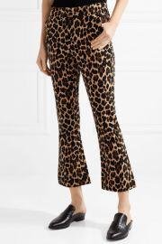 Cropped leopard-print cotton-blend velvet flared pants at Net A Porter