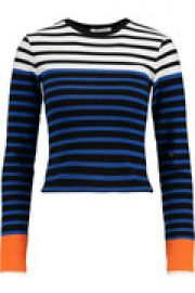 Cropped striped stretch-cotton top at The Outnet