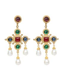 Cross & Pearly Dangle Earrings at Neiman Marcus