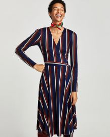 Crossover Dress with Long Sleeves at Zara