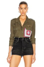 Crotchet Patch Military Top at Forward