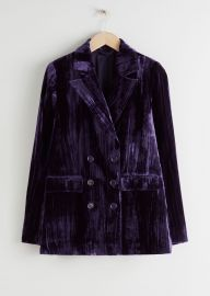 Crushed Velvet Double Breasted Blazer at & Other Stories