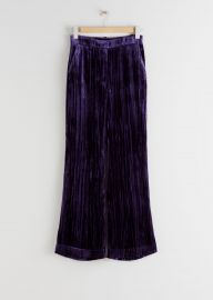 Crushed Velvet Kick Flare Trousers at & Other Stories