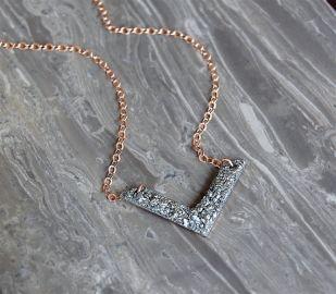 Crushed v necklace at Etsy