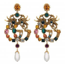 Crystal Double G earrings at Gucci