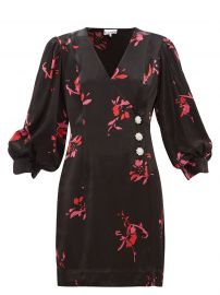 Crystal-Embellished Floral-Print Satin Wrap Mini Dress by Ganni at Matches