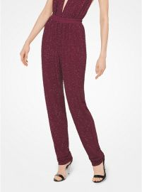 Crystal-Embroidered Matte-Jersey Pants by Michael Kors Collection at Michael Kors