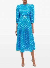 Crystal-belt pleated polka-dot silk midi dress at Matches