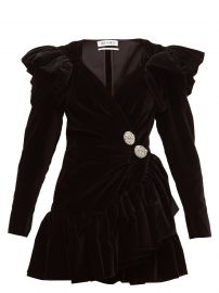 Crystal-button ruffled velvet wrap dress at Matches