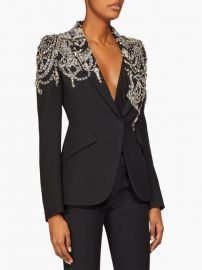 Crystal-embellished single-breasted crepe blazer at Matches