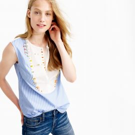 Crystal-embellished tuxedo shell top at J. Crew
