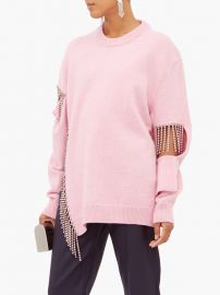 Crystal-fringed wool sweater at Matches