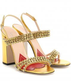 Crystal metallic leather sandals at Mytheresa